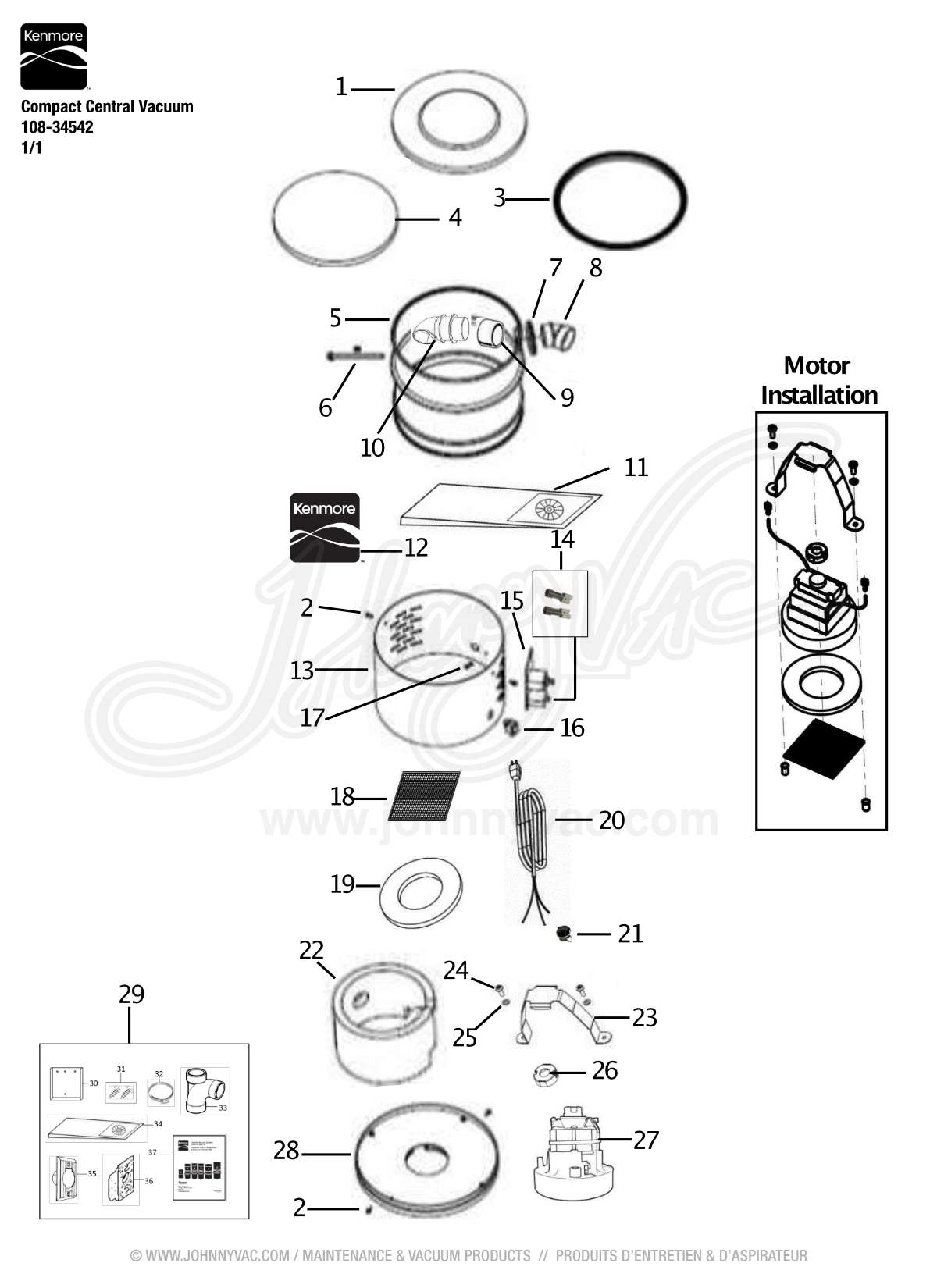 vacuum schematic (exploded view) for kenmore compact central vacuum  108-34542, model