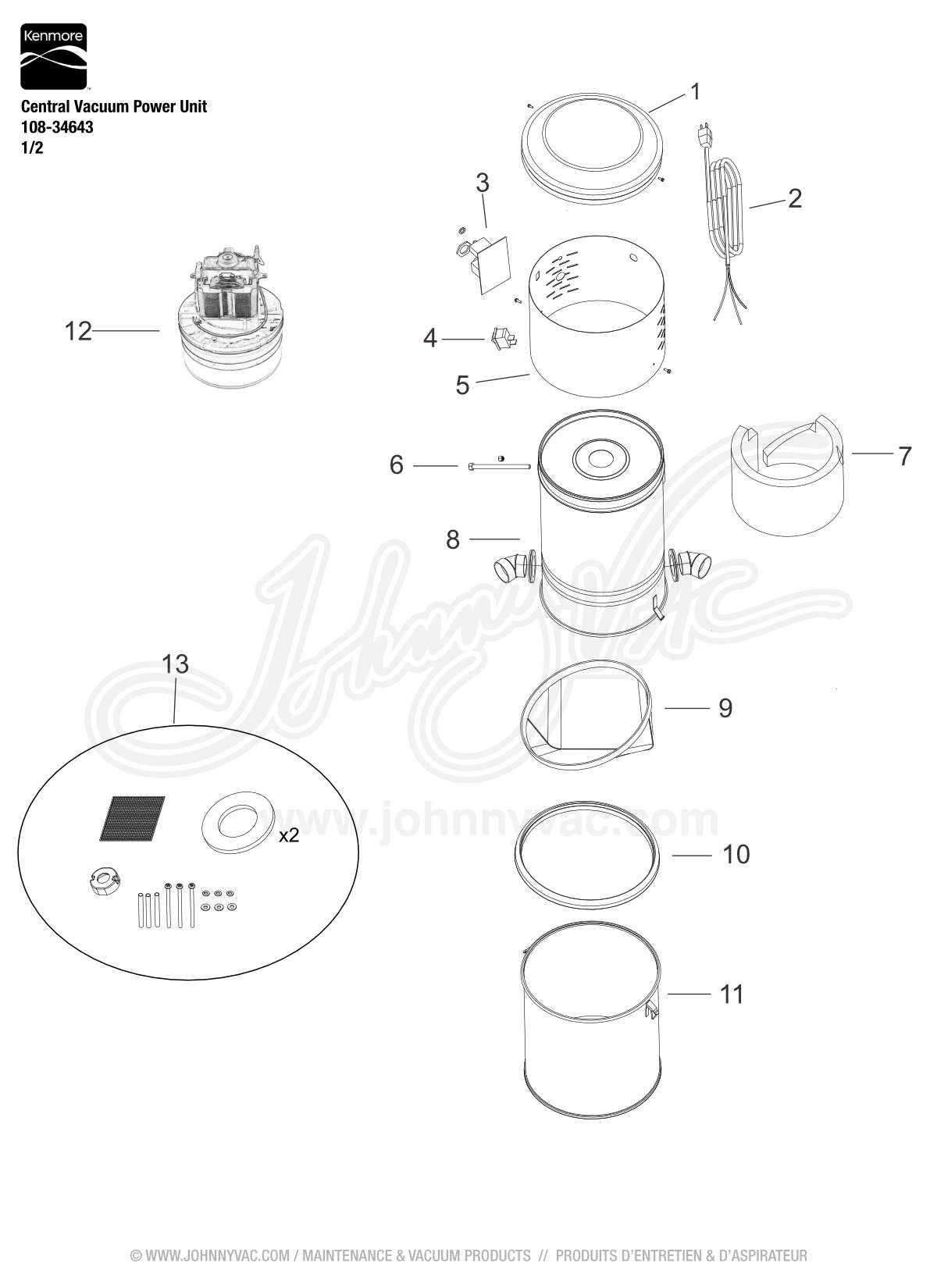 Vacuum Schematic (exploded view) for Kenmore Central Vacuum Power Unit  108-34643,