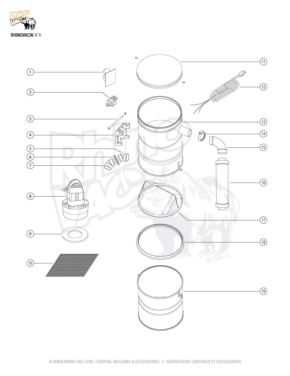 Parts for RHINOVACW
