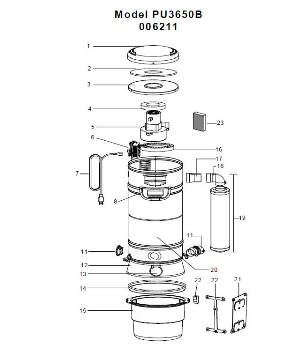 vacuum schematic (exploded view) for electrolux 006211 central vacuum,  model(s)